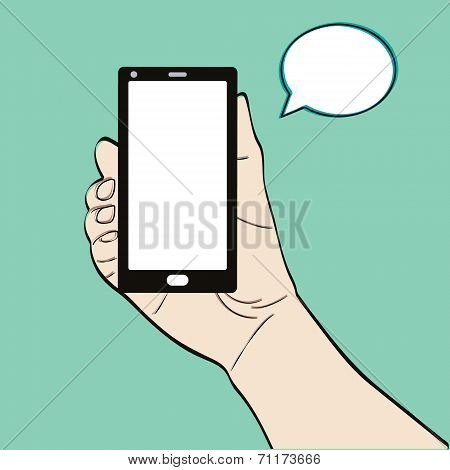 Man hand holding a smart phone on a green background