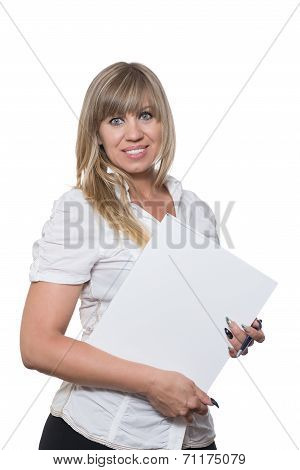 Smiling Woman Is Holding A File