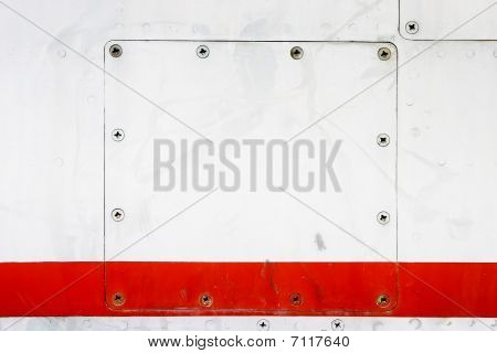 square removable copper plate screwed to metal background poster