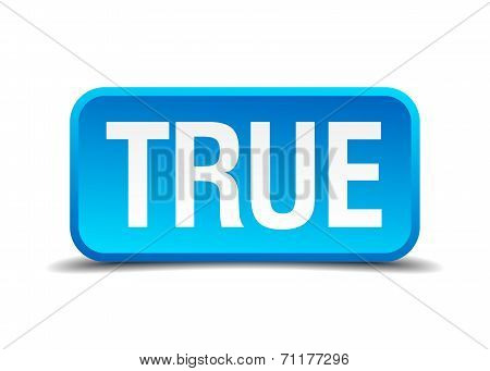 True Blue 3D Realistic Square Isolated Button