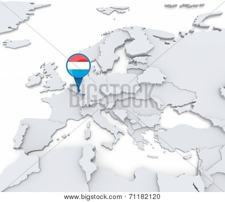 Luxembourg On A Map Of Europe