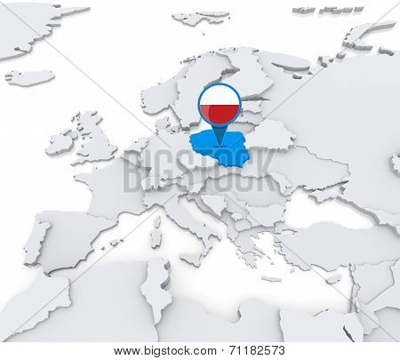 Poland On A Map Of Europe