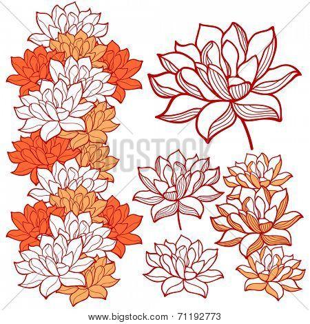 Stylish lotus flowers ornaments