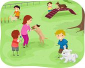 Illustration Featuring a Group of Children Training Their Dogs to Perform Agility Tests poster