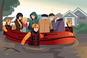 A vector illustration of rescue team helping people by pushing a boat through a flooded road poster