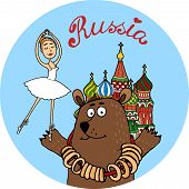 Circular colorful Russia tourism vector badge with a brown bear in front of St Basils Cathedral in Moscow holding a graceful ballerina from the Bolshoi Ballet on his palm poster