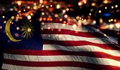 Malaysia National Flag Light Night Bokeh Abstract Background poster