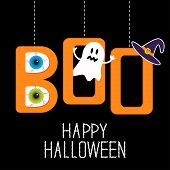 Hanging word BOO with ghost eyeballs and witch poster