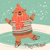 Christmas card with a pretty brown bear on an ice rink. Vector illustration. poster