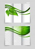 Tri-fold brochure template design with green leaves poster