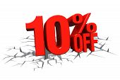 3D render red text 10 percent off on white crack hole background with reflection. poster