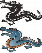 two color style crocodile pattern design,black and white,color. poster