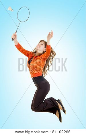 Girl Playing Badminton Jumping Catching Shuttlecock With Racket