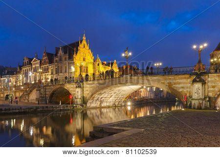 St. Michael Bridge at sunset in Ghent, Belgium