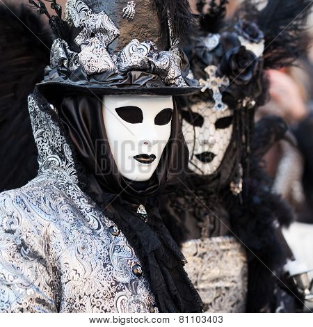Black & White, Masks On Carnival, Venice, Italy