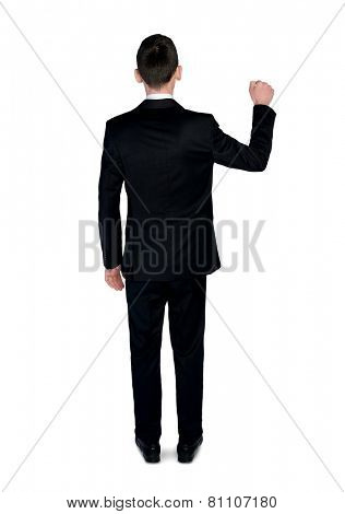 Isolated business man knock fist