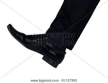 Isolated shoe feet hit something