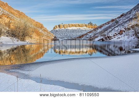 mountain lake  in winter scenery, Horsetooth Reservoir, Fort Collins in northern Colorado