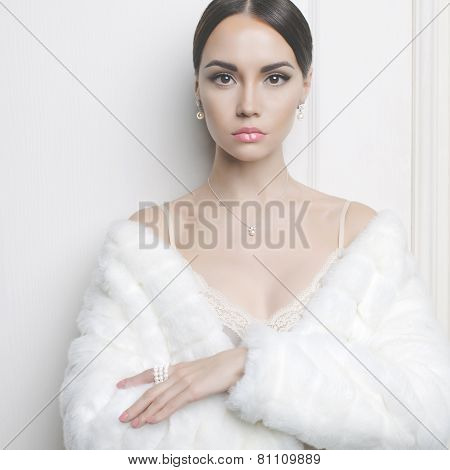 Elegant Lady In Fur Coat