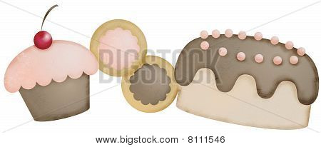 Bakery goods sweets desserts frosted cupcake cookies cake