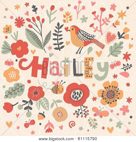 Bright card with beautiful name Hailey in poppy flowers, bees and butterflies. Awesome female name design in bright colors. Tremendous vector background for fabulous designs