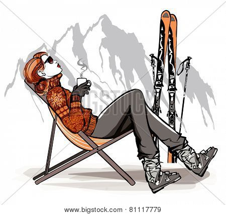 Woman having a break drinking coffee after skiing - vector illustration