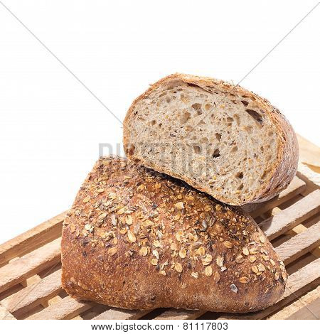Whole Grain Bread Cut In Half