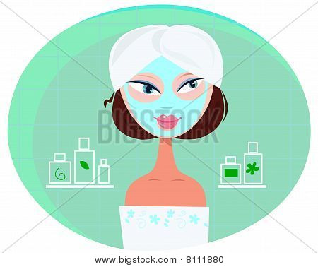 Beautiful girl woman with facial mask in bathroom
