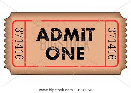 A brown vintage admit one ticket on a white background poster