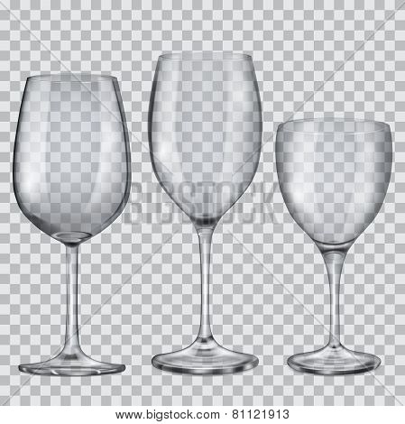 Transparent Empty Glass Goblets For Wine