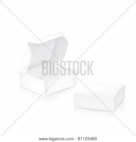 Empty package box. Two white packaging boxes closed and open. Vector illustration