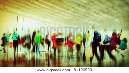 Casual People Rush Hour Walking Commuting City Concept poster