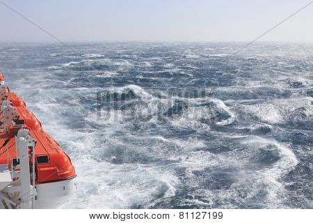 Lifeboats and rough seas
