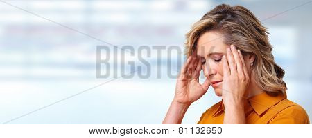 Woman having headache migraine. Stress and depression. poster
