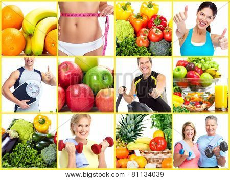 Fitness people. Weight loss and diet collage background. poster