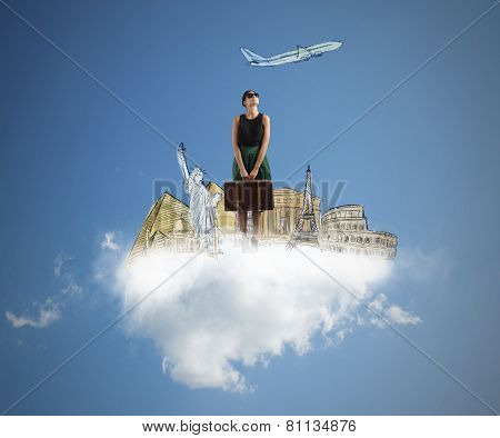 A tourist dreams her next beautiful trip poster