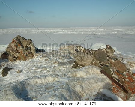 Winter On The Shores Of The Baltic Sea. Icy Pane. Kolka Peninsula. Latvia.