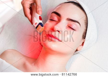 Microneedle facial mesotherapy with red light poster