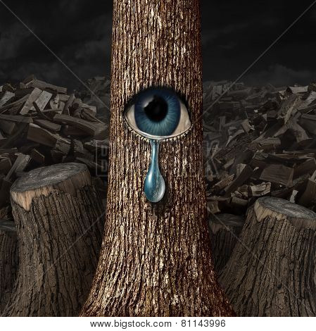 Mother nature crying concept as a background of chopped wood and cut trunks with one surviving tree with an open eye crying a tear drop as a metaphor for failed conservation. poster