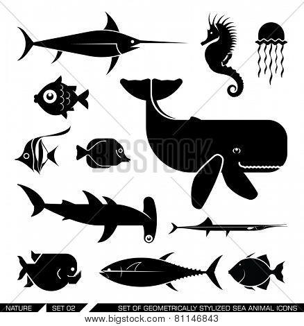 Set of various sea animal icons: Whale, hammerhead shark, swordfish, piranha, seahorse, fish. Vector illustration. poster