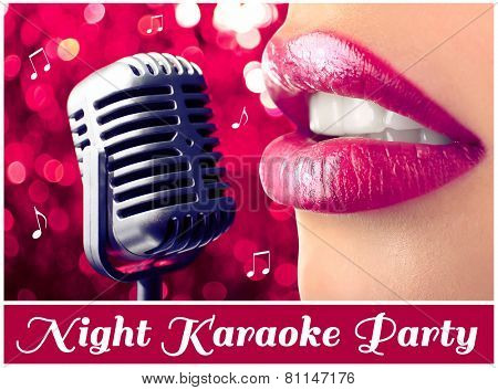 Woman and retro microphone on night lights background, karaoke party concept