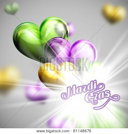 vector illustration of Mardi Gras or Shrove Tuesday lettering label on the flying balloon hearts bac
