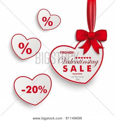 White Sale Hearts Red Ribbon Valentinstag