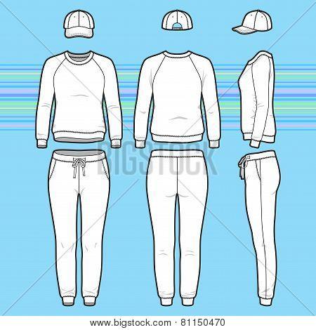 Sweatshirt, Cap And Sweatpants Set
