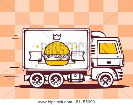 illustration of truck free and fast delivering burger with crown to customer on pattern background. Line art design for web site advertising banner poster board and print. poster