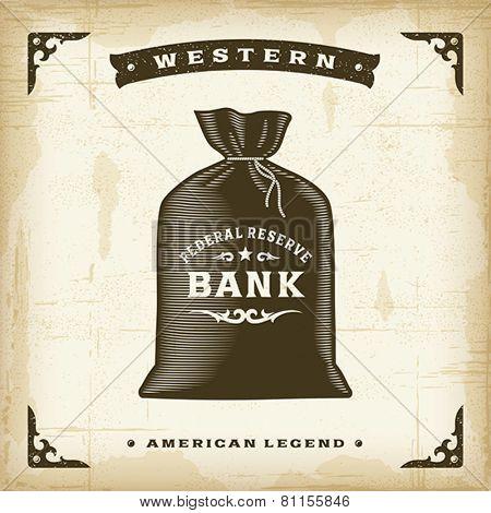 Vintage Western Money Bag. Editable EPS10 vector illustration.