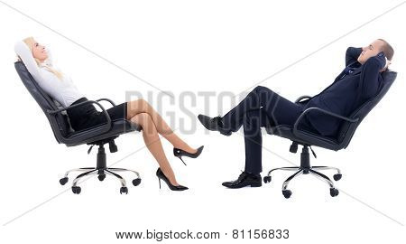 Team Work Concept - Business Woman And Business Man Sitting On Office Chairs Isolated On White