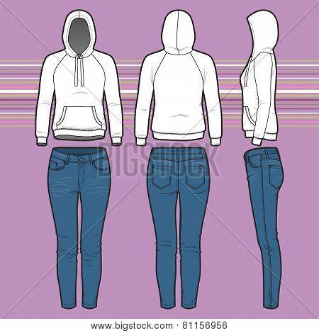 Hoodi And Jeans Set
