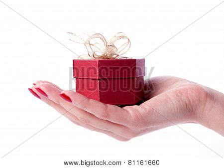 Woman Hands Holdind Present Box