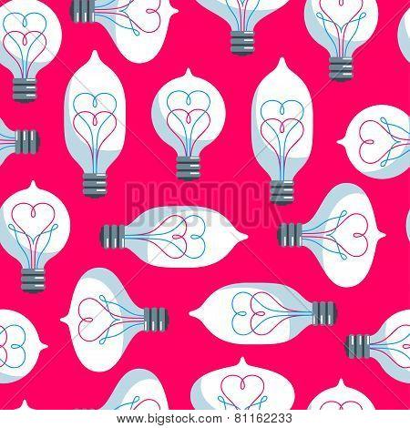 Vintage Colored Light Bulbs Seamless Pattern.